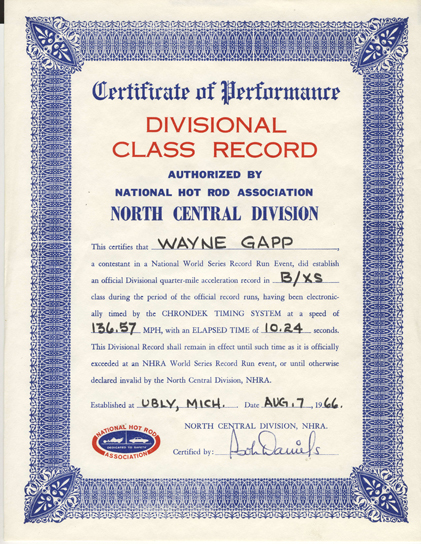 NHRA Class Cert